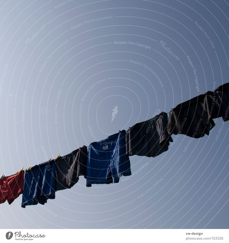 Freitag ist Waschtag Himmel Sommer Bekleidung T-Shirt Unterwäsche Shorts Wäsche Unterhose Haushalt Wäscheleine Seil Männerunterhose