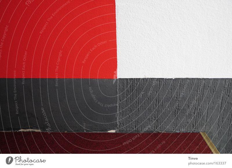 Eingang rot-weiß Roter Teppich Strukturen & Formen Rechteck Wand Muster Teilung kariert Putz Detailaufnahme