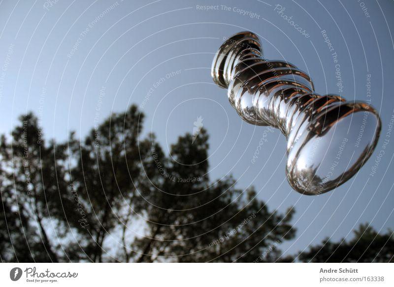 Unbekanntes Flugobjekt Himmel Baum blau Luftverkehr Fluggerät silber Silber mystisch UFO