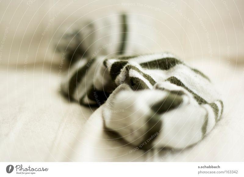 Sommer - Socken aus Ringelsocken Strümpfe Streifen Unschärfe Sofa gestreift weiß beige grün Wohnzimmer Makroaufnahme Nahaufnahme Bekleidung