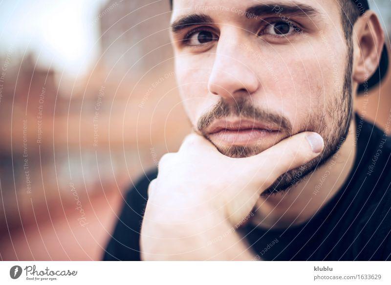 Mann Stadt schön weiß Gesicht Erwachsene Umwelt Stil Lifestyle Glück Freizeit & Hobby Textfreiraum modern Kreativität Aussicht Lächeln