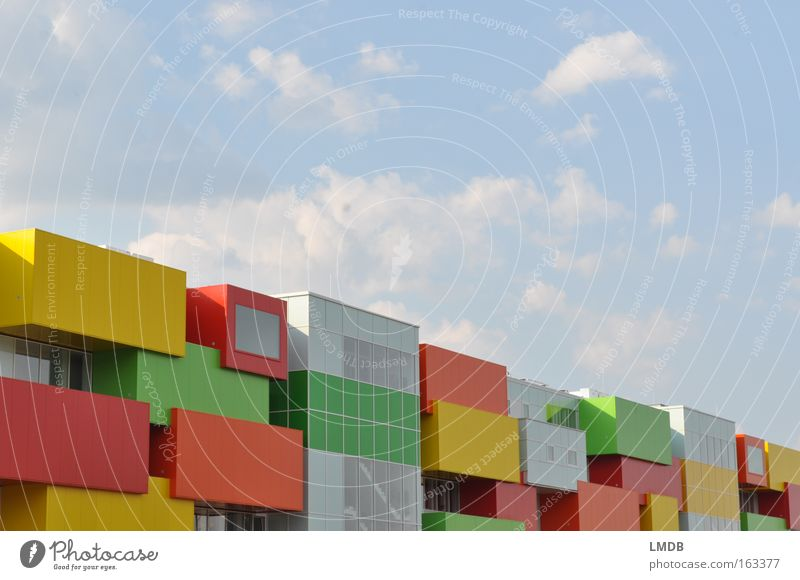 Bauklotz-Haus Himmel Spielzeug Stadt Farbe Gebäude Wohnung modern Häusliches Leben Schönes Wetter Teile u. Stücke Baustein mehrfarbig Lebensraum