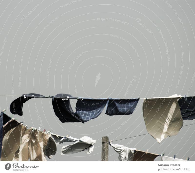 Hooger Wäscheleine Wäsche waschen Waschmittel trocknen nass dreckig Wind Klammer festhalten Hemd T-Shirt aufhängen Wärme Konzepte & Themen Bekleidung