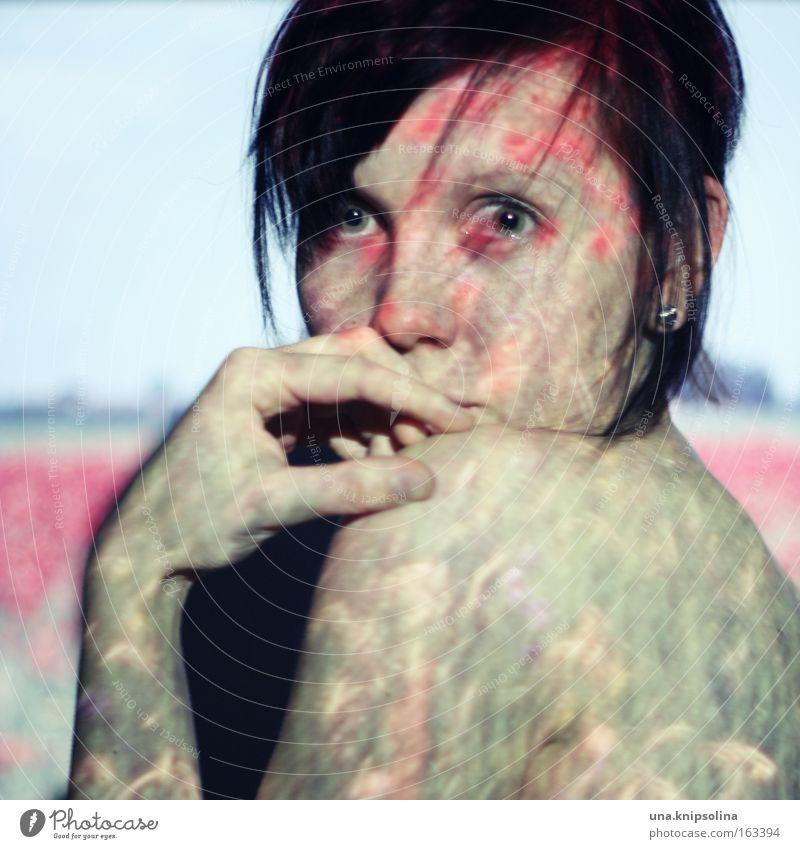 pavot Frau Sommer Blume Farbe Erwachsene Wiese Frühling Haut Bild Mohn brünett Tattoo Doppelbelichtung Projektion Körperkunst