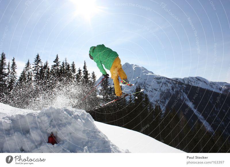 freestyle Sonne Licht Himmel blau Schnee Skifahren Baum Freestyle Luft schön springen Drehung Freizeit & Hobby Winter Wintersport k2 freeskiing sky mountain