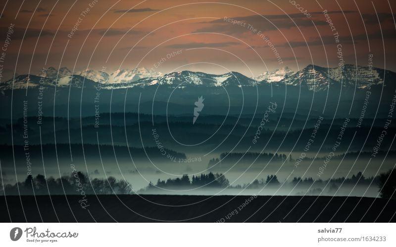 Alpenblick Ferien & Urlaub & Reisen Tourismus Ausflug Ferne Berge u. Gebirge Entertainment Landschaft Himmel Wolken Horizont Klima Wetter Nebel Feld Wald