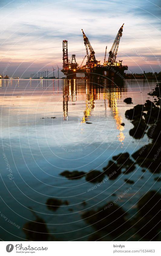 Hafen Hoek van Holland Technik & Technologie Erneuerbare Energie Windkraftanlage Industrie Hafenkran Himmel Nachthimmel Küste Flussufer Niederlande Schifffahrt
