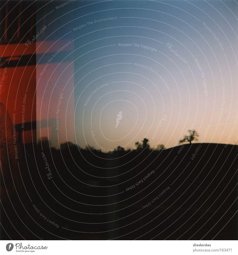 Abendrot dunkel Stimmung Horizont Doppelbelichtung Mittelformat
