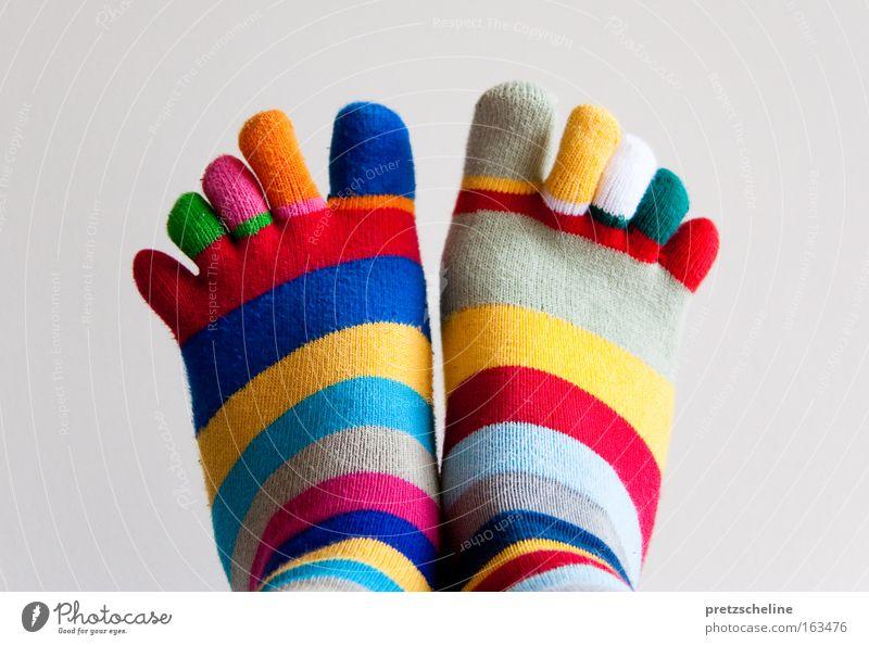 zehensocken Strümpfe Zehen Zehenspitze Streifen gestreift Fundament mehrfarbig Bekleidung Farbe Freizeit & Hobby Fuß Körperteile Beine Bewegung