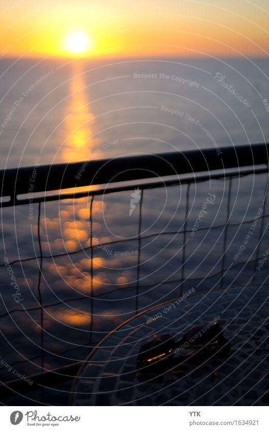 I wear my sunglasses at dawn Natur Wasser Himmel Sonne Sonnenaufgang Sonnenuntergang Sonnenlicht Wetter Schönes Wetter Küste Bucht Meer glänzend elegant Leben