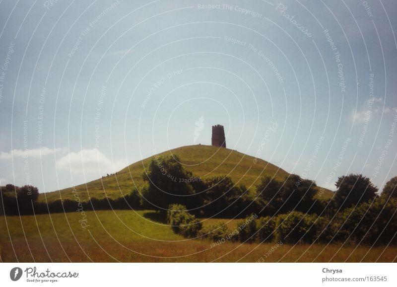 Glastonbury Natur Sommer ruhig Landschaft Stimmung Architektur groß Turm Hügel