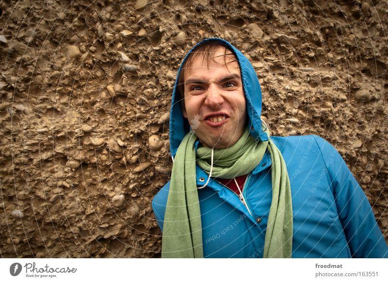 Nerd Mensch Mann Jugendliche schön grün blau Freude Gesicht Stil Kopf Stein braun Erwachsene maskulin verrückt frisch