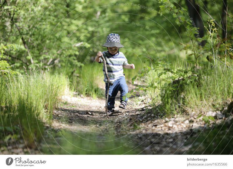 Wandersmann 1 Lifestyle Spielen Ausflug Abenteuer Sommer wandern Kind Kleinkind Junge Natur Landschaft Lebensfreude Mütze Wanderstock Wald Farbfoto