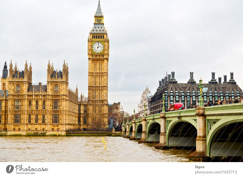 alte Bau England Stadt Ferien & Urlaub & Reisen Tourismus Berge u. Gebirge Haus Uhr Himmel Wolken Palast Gebäude Architektur Denkmal historisch schwarz weiß