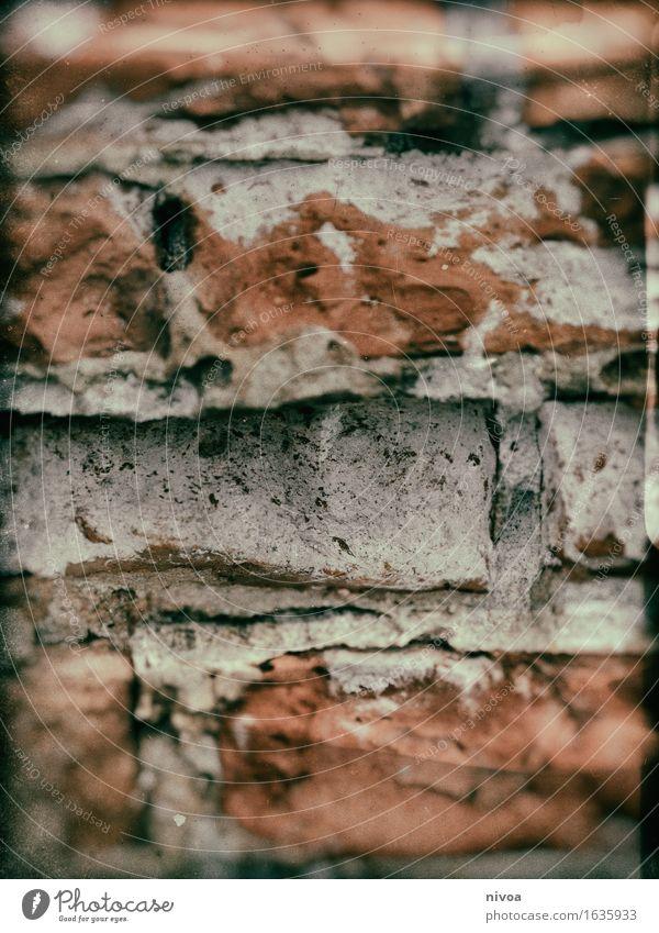 Backstein 2 Haus Hütte Bauwerk Gebäude Mauer Wand Fassade Stein Sand Linie bauen liegen braun orange rot Zusammensein Farbfoto Gedeckte Farben Außenaufnahme
