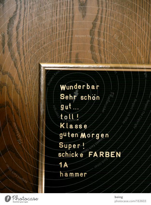 Textfreiraum zwischen den Ohren schwarz Holz braun gold Schilder & Markierungen lernen Schriftzeichen Hinweisschild Romantik Ziffern & Zahlen Zeichen historisch hängen Wort Zettel verkaufen