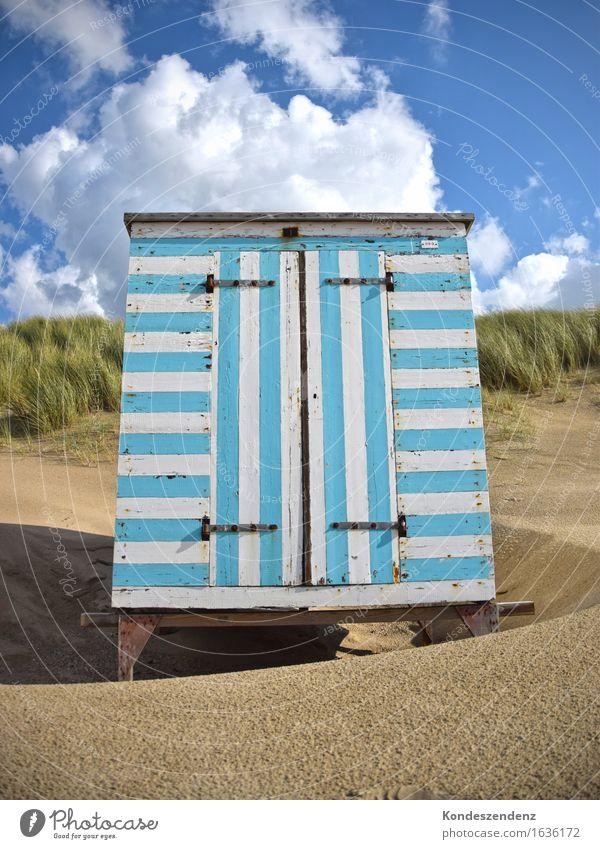 Strandhütte Himmel blau Sommer Sonne Meer Wolken ruhig Küste Holz Freiheit Schwimmen & Baden Sand Lebensfreude Schönes Wetter Hütte