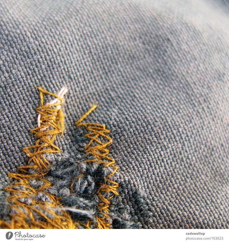 a stitch in time saves nine Zeit Linie Stoff Jacke Handwerk Handwerker Schleife Knoten Selbstständigkeit Problemlösung Sack Billig sparsam Arbeitsbekleidung Selbstlosigkeit