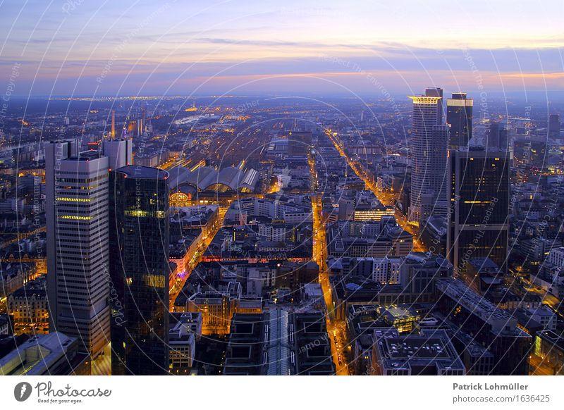 Stadtlichter Frankfurt Main Himmel Architektur Gebäude Deutschland Linie Horizont Design Büro modern Hochhaus Europa Beton Schönes Wetter Bauwerk Skyline
