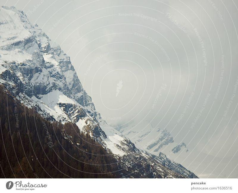 das wetter am alpenrand Natur Landschaft Urelemente Himmel Wolken Klima Wetter Schnee Wald Felsen Alpen kalt nackt Ferien & Urlaub & Reisen Schweiz