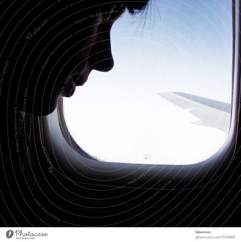 Über den Wolken... Mensch Himmel Jugendliche blau Freude ruhig Gesicht schwarz feminin Freiheit Glück Haare & Frisuren träumen Mund Haut Nase