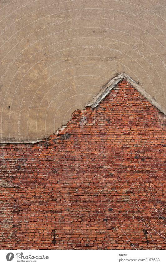 Hauswandhaus alt Stadt rot Haus Wand Stein Mauer braun dreckig Beton authentisch Baustelle einfach Zeichen Handwerk Ruine