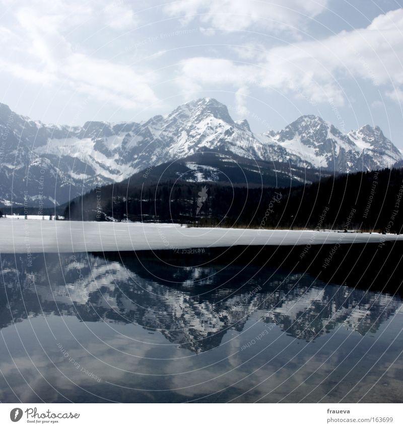 Spiegelung Himmel Natur Pflanze Tier Wolken Erholung Umwelt Landschaft Schnee Berge u. Gebirge Horizont Wetter Felsen wandern Klima Ausflug