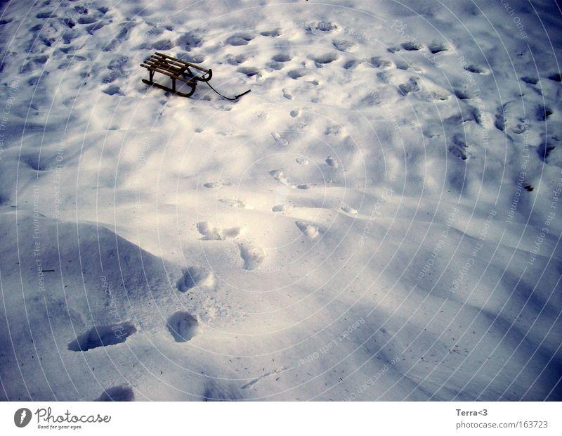 Winterwonderland Farbfoto Außenaufnahme Menschenleer Textfreiraum links Morgendämmerung Dämmerung Licht Schatten Kontrast Schnee Winterurlaub Schlitten