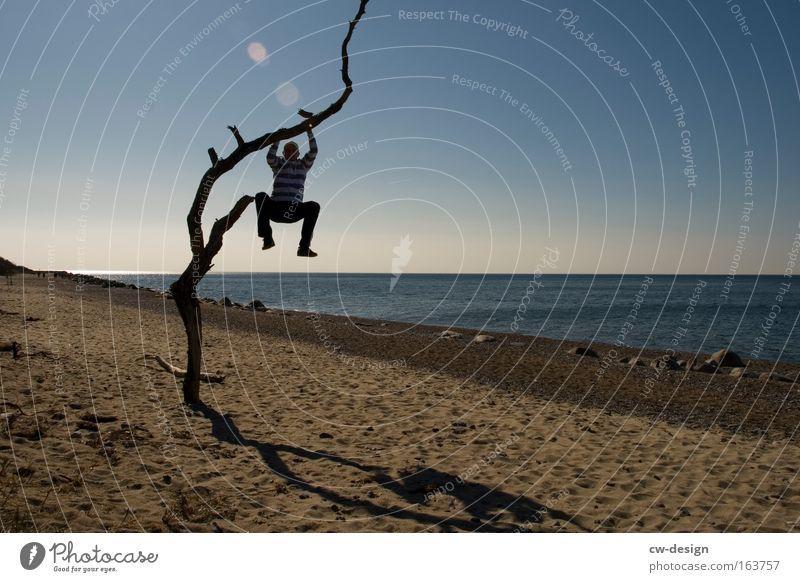 Upgrade aktiviert Mensch Mann Wasser Baum Meer Sommer Strand Einsamkeit Erholung See Küste trist Aussicht Klettern Baumstamm aufsteigen