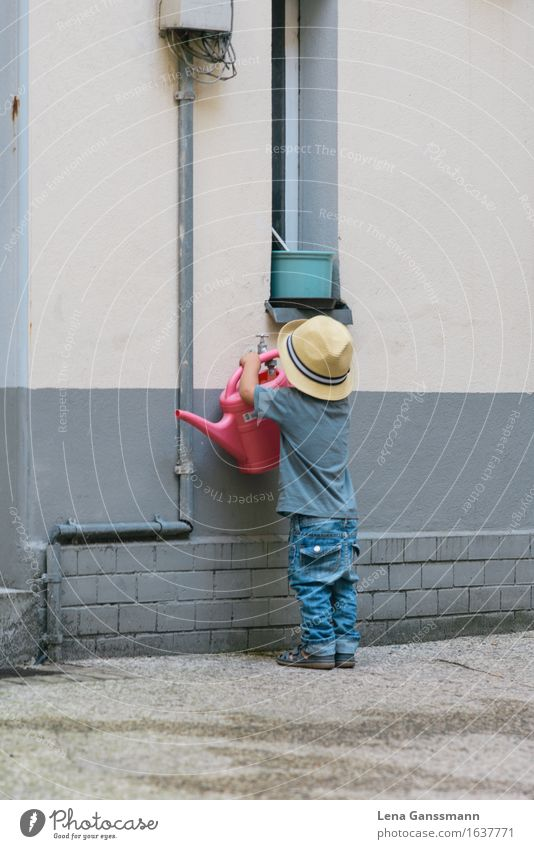 Kleiner Gartenhelfer Mensch Kind Wasser Haus Wand Junge Mauer Arbeit & Erwerbstätigkeit maskulin Park Wachstum Kindheit Trinkwasser Beton Landwirtschaft
