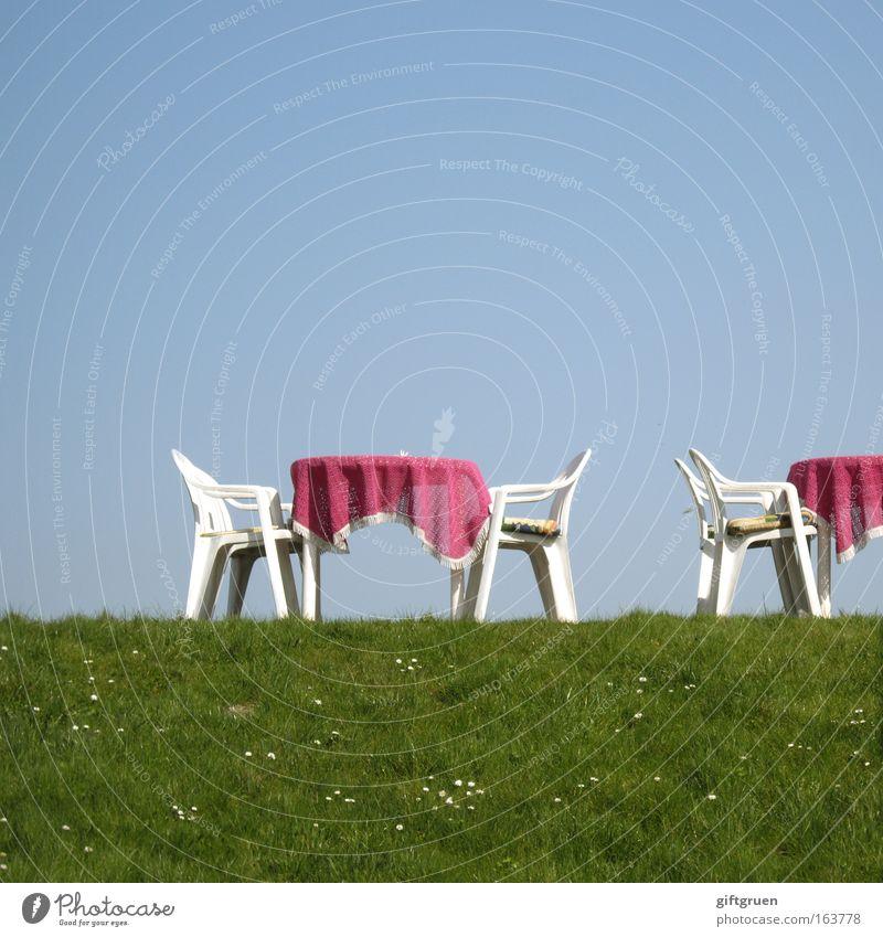 draußen nur kännchen blau grün Ferien & Urlaub & Reisen Sommer rosa Tourismus Tisch Stuhl Nordsee Gastronomie Tee Dienstleistungsgewerbe Café Möbel skurril