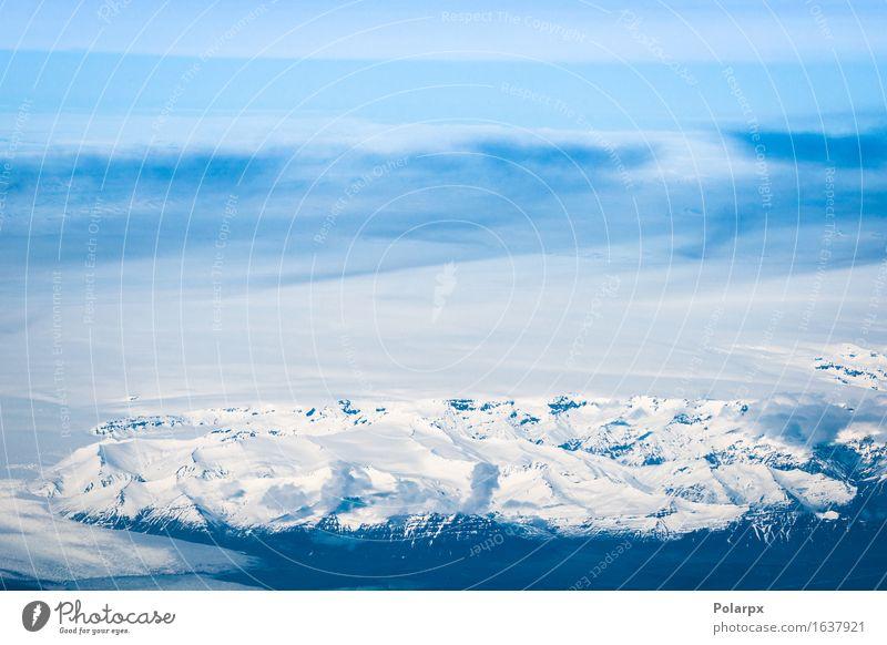 Natur blau weiß Landschaft Wolken Berge u. Gebirge natürlich Schnee fliegen oben Felsen Aussicht Insel Fluss Island Riss