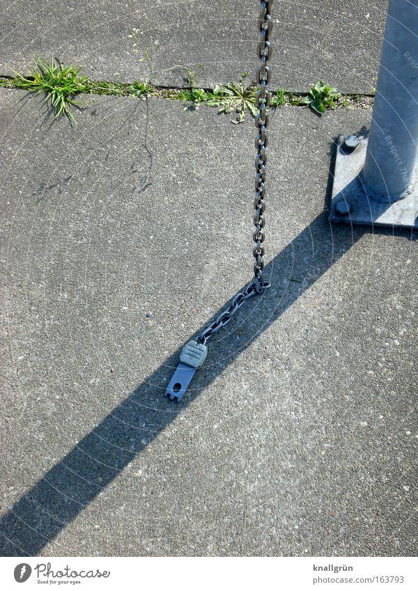 Einkaufswagenbefestigungskette grün grau Metall Beton Kette silber Fuge Pfosten Betonplatte Schlagschatten Schattendasein