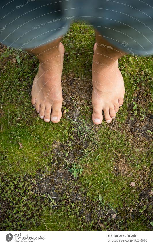 Junger Mann steht barfuß auf Moos Pediküre Gesundheit Freizeit & Hobby Spaziergang Freiheit Sommer Garten Mensch maskulin Erwachsene Leben Fuß 1 30-45 Jahre