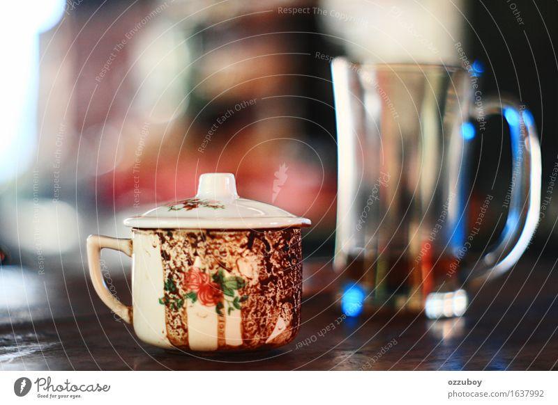 Tasse Kaffee Getränk Heißgetränk Tee Becher Glas gebrauchen dreckig oben weiß Stimmung Farbfoto Nahaufnahme Menschenleer Tag Schwache Tiefenschärfe