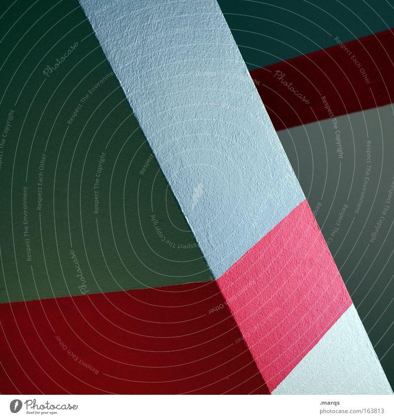 Bevel Farbfoto mehrfarbig Innenaufnahme Textfreiraum links Textfreiraum Mitte Architektur Mauer Wand Streifen ästhetisch Sauberkeit blau rot abstrakt anlehnen
