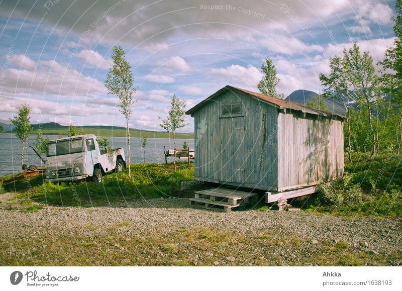 Der hohe Norden XII Himmel Natur alt blau Baum Einsamkeit Wolken Holz See Stimmung Idylle retro Schönes Wetter Abenteuer Hütte Nostalgie
