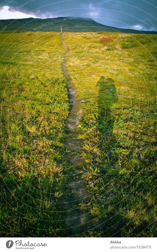 Pfad wandern Natur Wiese Berge u. Gebirge Straße Wege & Pfade Fußweg Pfadfinder groß unten grün Beginn Entschlossenheit Zukunft Farbfoto Außenaufnahme