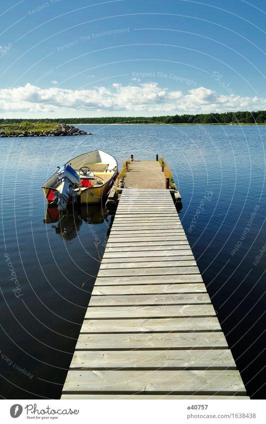 Schweden See Angeln nautisch Anlegestelle Fischerboot Sommer Wald Außenbordmotor Motor Triebwerke Lokomotive Sverige Gotland Wasser Himmel Skyline
