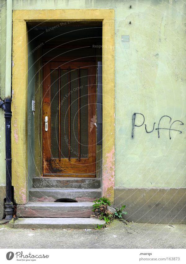 Etablissement alt grün Freude Einsamkeit Erholung Tür Schriftzeichen Wirtschaft Begierde Ausdauer standhaft Hemmungslosigkeit Bordell Zuhälter Rotlichtviertel