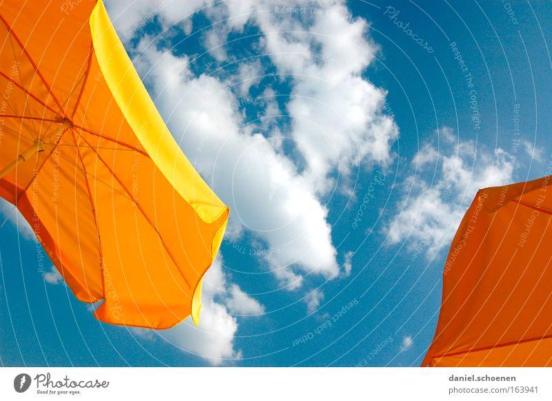 Wochenendwetter Himmel blau weiß rot Ferien & Urlaub & Reisen Sommer Freude Wolken ruhig gelb Erholung Glück Stimmung Wetter Zufriedenheit Freizeit & Hobby
