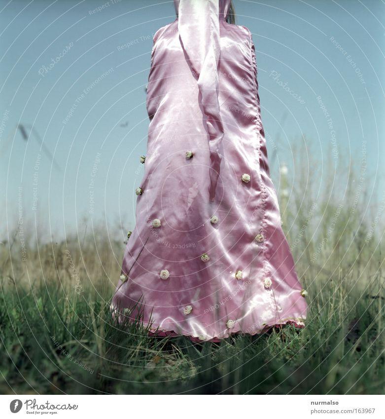 Prinzess I Mensch blau grün rot Spielen Gras Garten träumen Mode Kunst Tanzen rosa Lifestyle Bekleidung Sträucher Rose