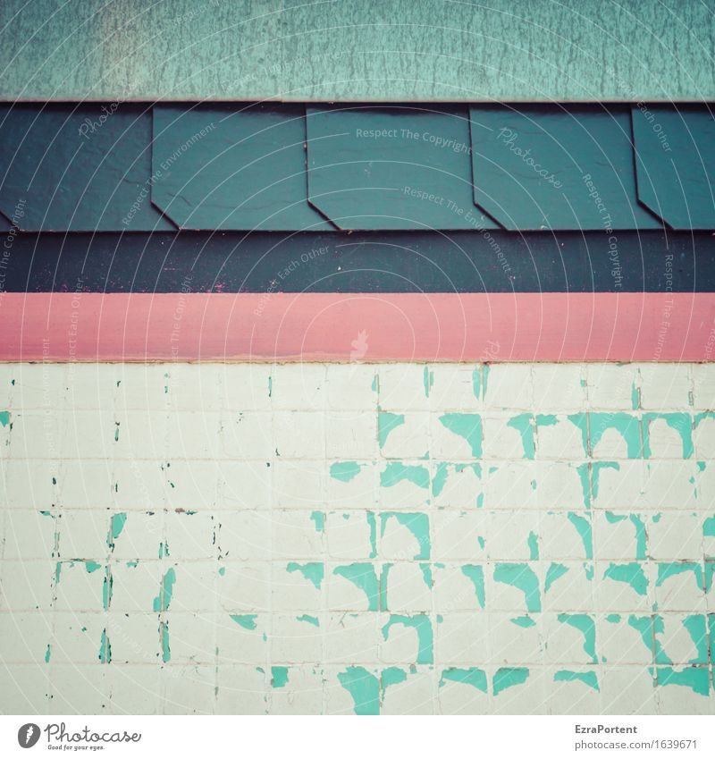 Vielfalt Haus Gebäude Mauer Wand Fassade Linie Streifen blau grau rot türkis weiß Design Farbe Vielfältig Mosaik Grafik u. Illustration Grafische Darstellung