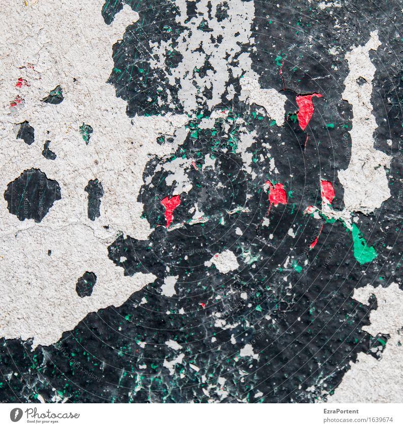 Farbschichtwand weiß schwarz rot grün Kunst Mauer Wand Fassade Stein Beton Zeichen wild Design Farbe Landkarte kaputt abblättern gestalten