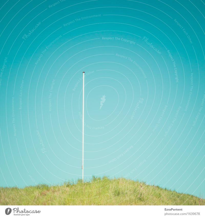 Himmel Gras Fahnenmast, ohne Fahne Umwelt Natur Wolkenloser Himmel Frühling Sommer Linie ästhetisch hell blau grün türkis Farbe Einsamkeit einzeln