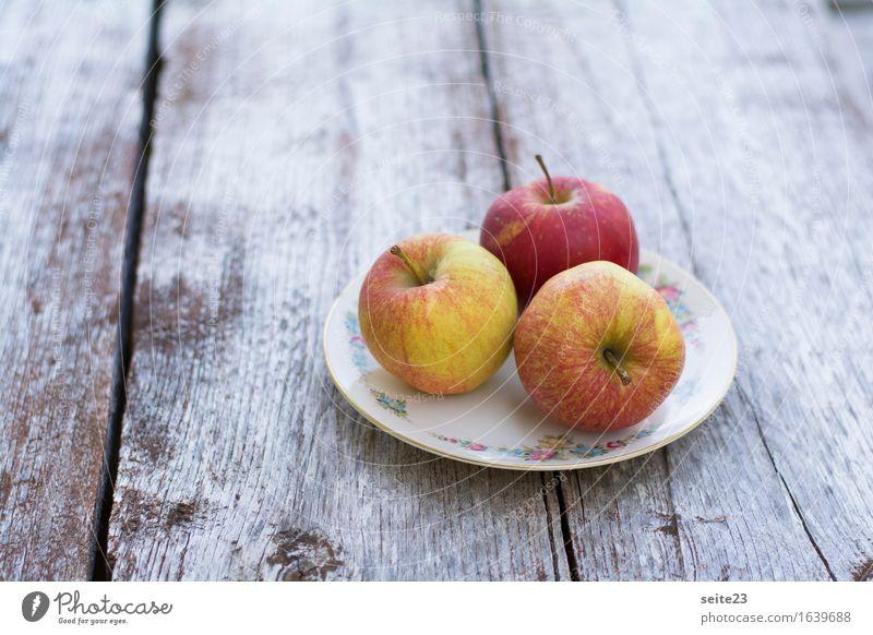 Ein Teller voll Äpfel Lebensmittel Frucht Apfel Ernährung Bioprodukte Vegetarische Ernährung Holz genießen Gesundheit Gesundheitswesen Preisschild Farbfoto
