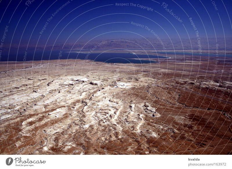 Das Tote Meer Natur Ferien & Urlaub & Reisen blau Sommer Wasser weiß Landschaft Ferne braun Sand Horizont Erde Schönes Wetter Wolkenloser Himmel Salz