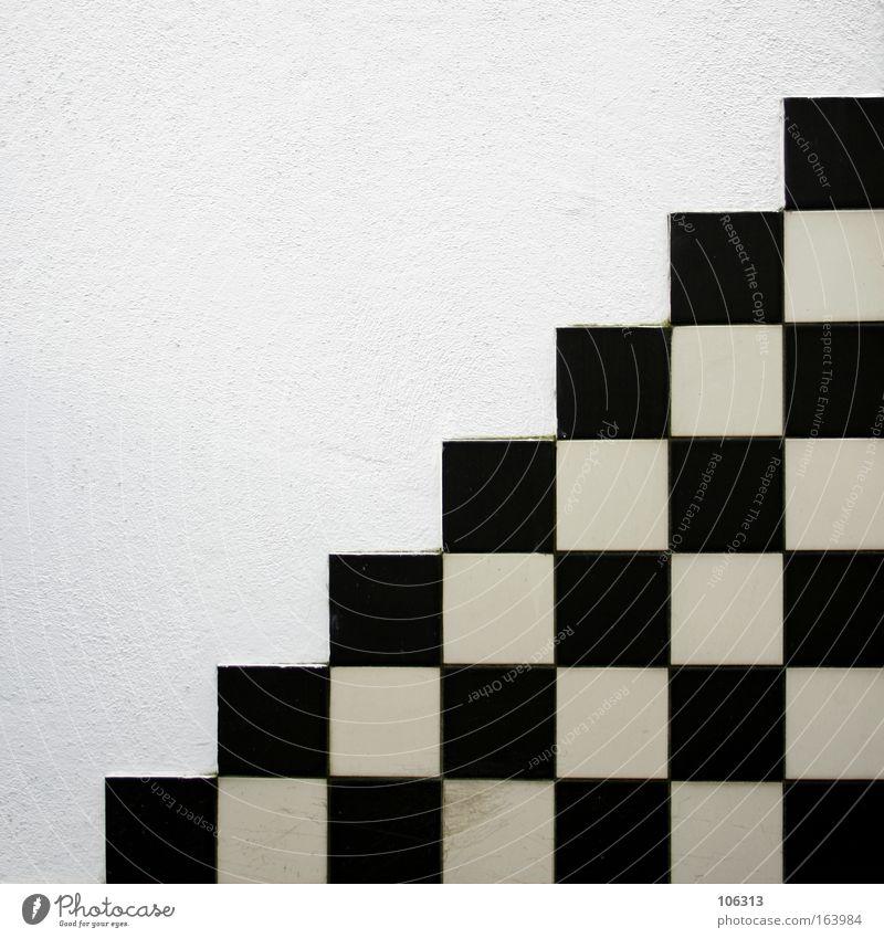 Fotonummer 118896 Treppe Stein Zeichen schwarz weiß Ordnung Mosaik Wand graphisch extrem radikal Hintergrundbild anriss Hälfte diagonal aufsteigen Kurve
