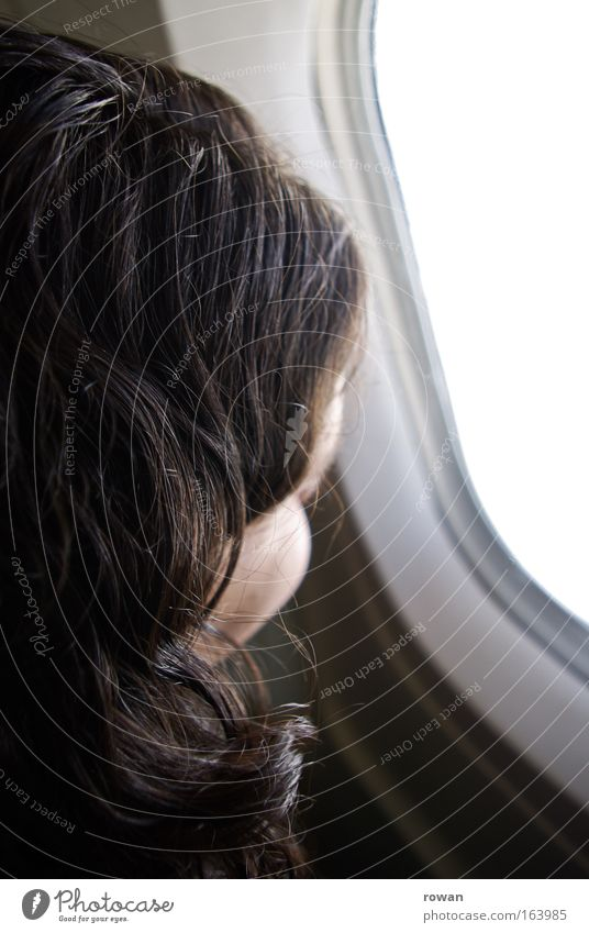 aussicht Innenaufnahme Textfreiraum rechts Rückansicht feminin Junge Frau Jugendliche Erwachsene Haare & Frisuren 1 Mensch Luftverkehr Flugzeug