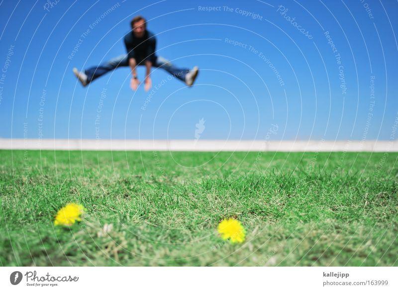 spring Mensch Himmel Mann Natur blau grün Pflanze Sommer Tier Umwelt Landschaft Wiese Gras Frühling springen Blüte